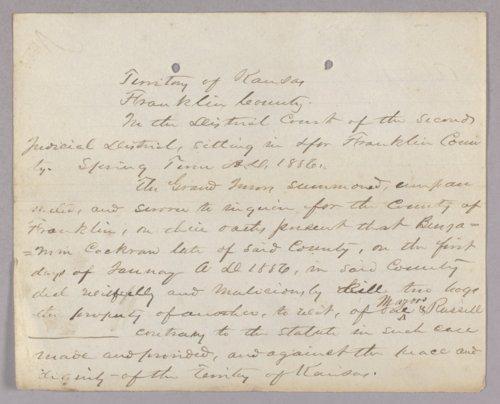 Kansas Territory versus Benjamin Cockran for malicious mischief - Page