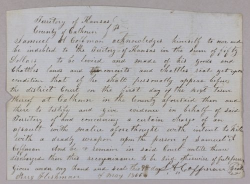 Kansas Territory versus Marshall Coffman and Samuel Coffman for recognizance - Page