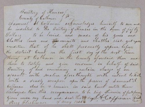 Kansas Territory versus Marshall Cottman for assault - Page