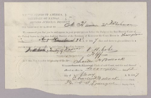 Kansas Territory versus Vincent D. Cohee for larceny - Page