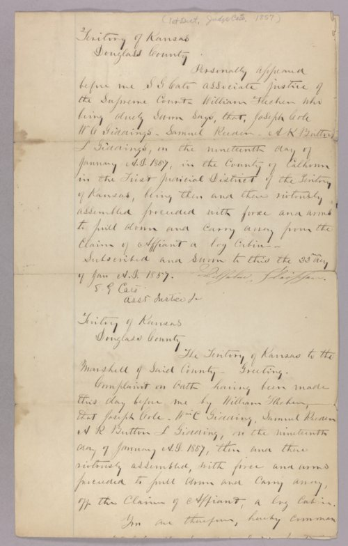 Kansas Territory versus Joseph Cole for pulling down and carrying away a cabin on the claim of William Fletcher - Page