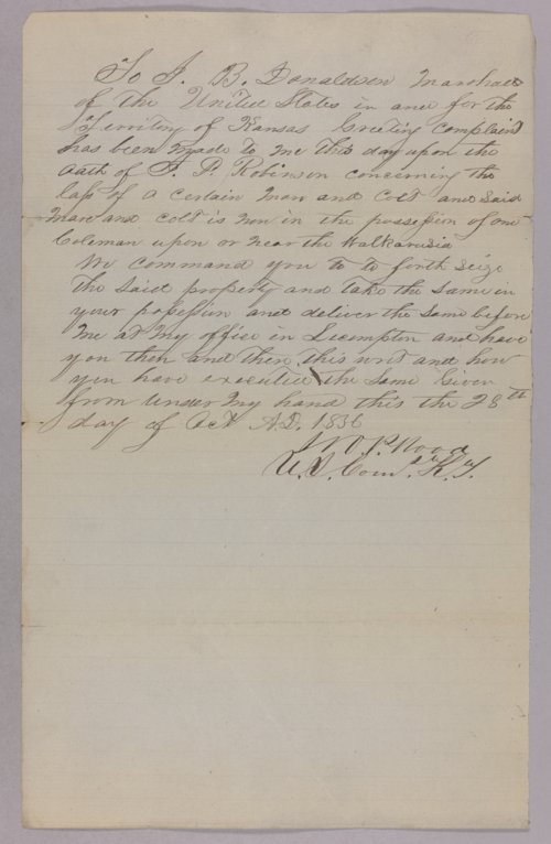 Kansas Territory versus Coleman for horse stealing - Page