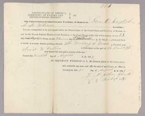 Kansas Territory versus Daniel W. Collins for selling liquor without a license - Page