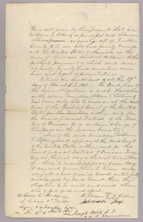 United States versus William T. Collins for trespass on Indian country - Page