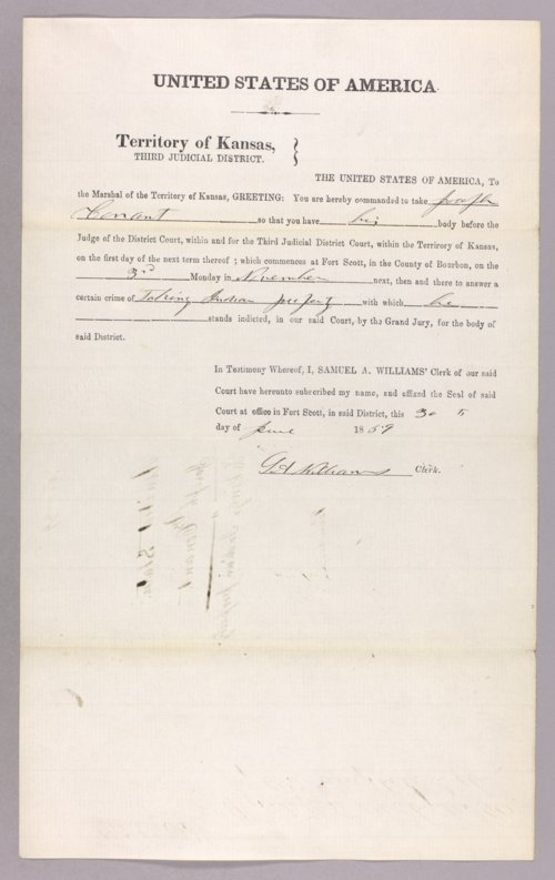 Kansas Territory versus Joseph Conant for taking Indian property - Page