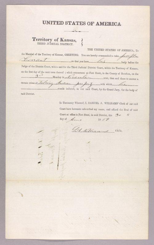 Kansas Territory versus Joseph Conant for taking Indian property - Page
