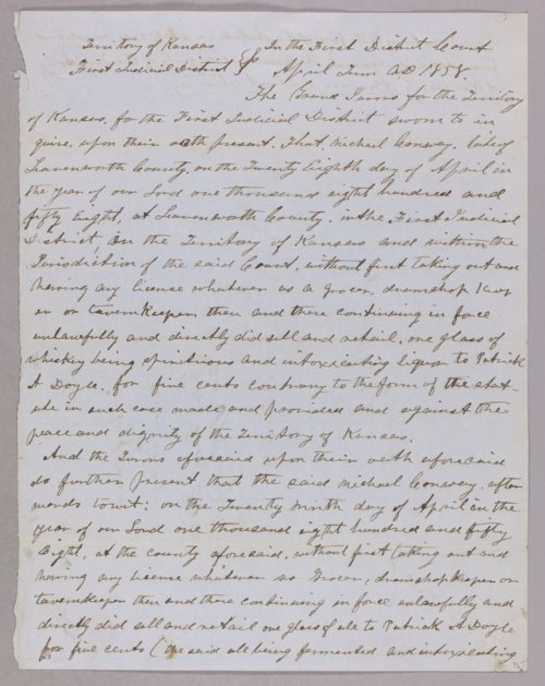 Kansas Territory versus Michael Conway for selling liquor without a license - Page