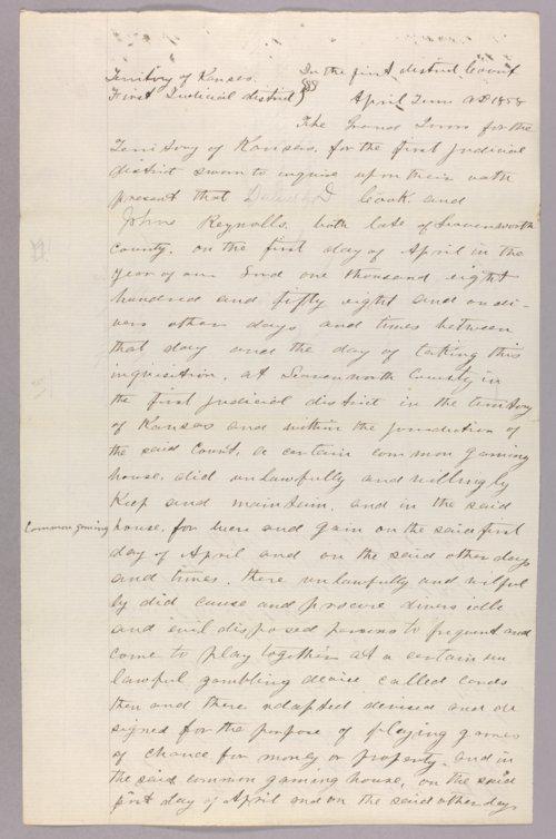 Kansas Territory versus Daniel D. Cook and John Reynolds for gaming - Page