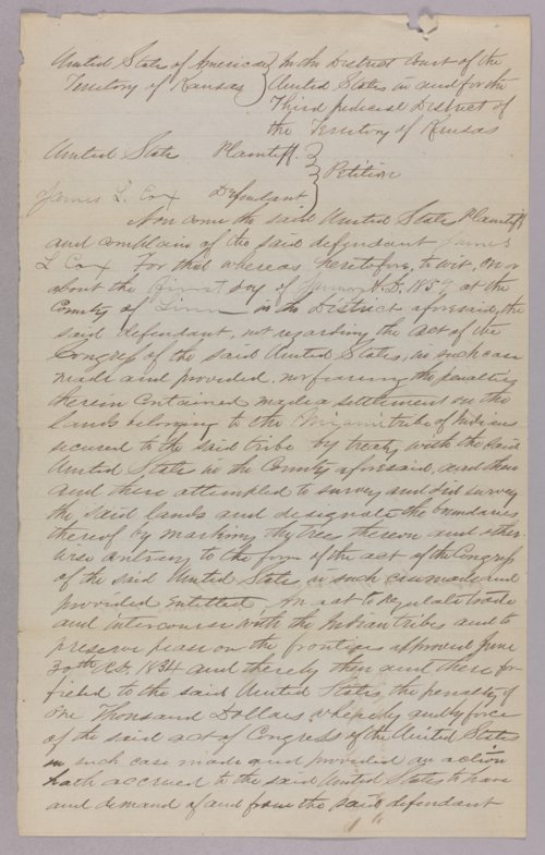 United States versus James L. Cox for settling on Indian land - Page