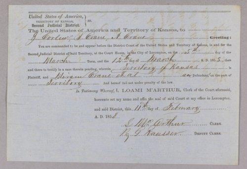 Kansas Territory versus Hiram Crane for burglary - Page