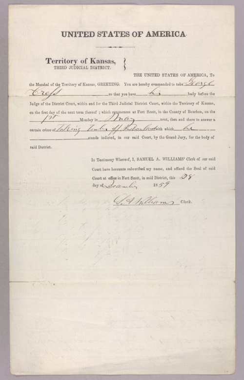 United States versus George Cress for taking Indian property - Page