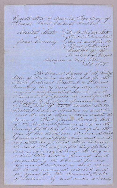 United States versus James Cromley for taking Indian property - Page