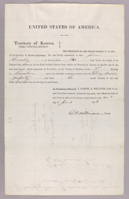 United States versus James Cromley and James Jones for taking Indian property - Page