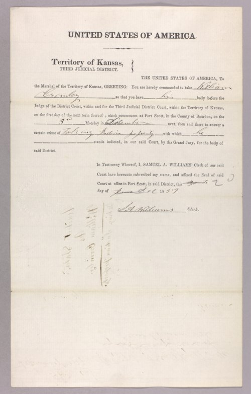 United States versus William Cromley for taking Indian property - Page