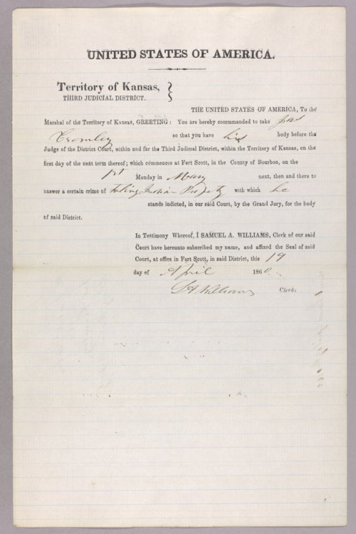 United States versus James Crumley for taking Indian property - Page