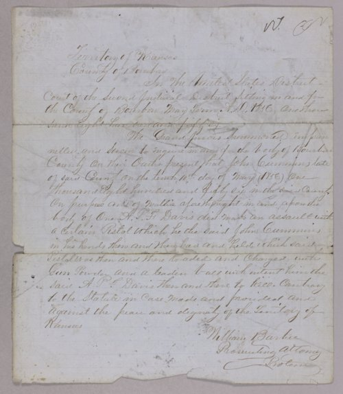 Kansas Territory versus John Cumming for assault with intent to kill - Page