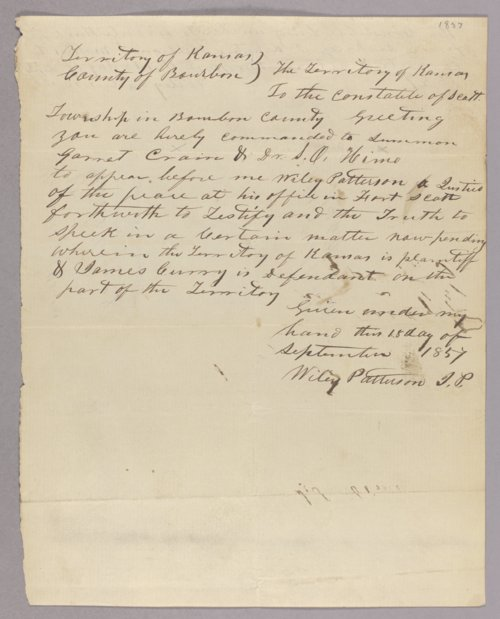 Kansas Territory versus James Curry for assault with intent to kill - Page