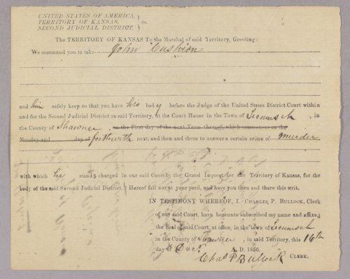 Kansas Territory versus John Cushion for murder - Page