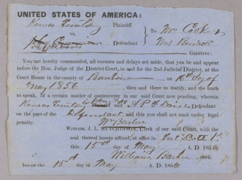 Kansas Territory versus A. D. F. Davis for assault with intent to kill - Page