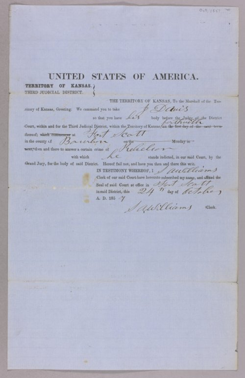 Kansas Territory versus J. Davis for rebellion - Page
