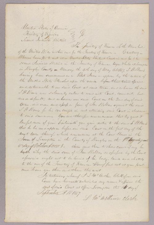 Kansas Territory versus S. H. Davis for contempt - Page