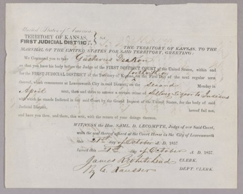 Kansas Territory versus Gustavus Deacon for selling liquor to Indians - Page