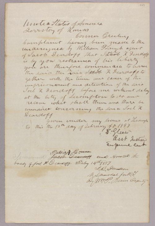 Kansas Territory versus Joel Deardorf - Page