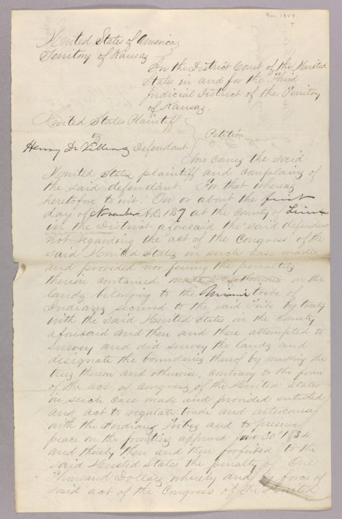 United States versus Henry Devillers for settling on Indian lands - Page