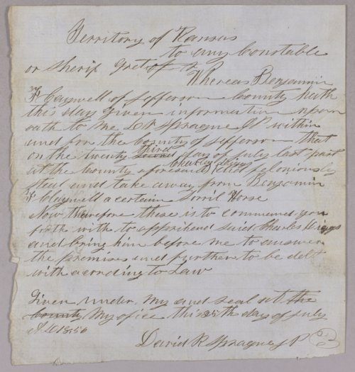 Kansas Territory versus Charles Diggs for horse stealing - Page