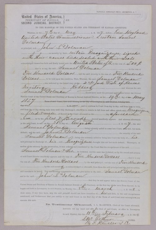 United States versus Samuel Dolman and John S. Dolman for forfeited recognizance - Page