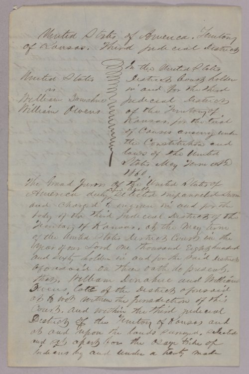 United States versus William Donahue and William Owens for taking Osage property - Page