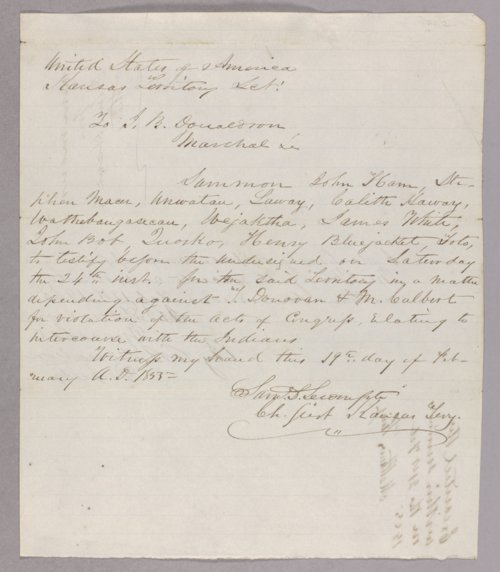 United States versus Thomas Donovan, Michael Culbert for selling liquor to the Indians - Page