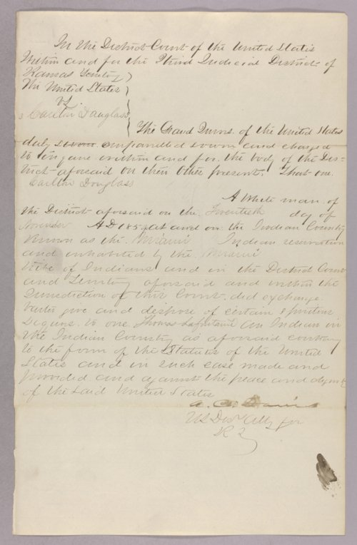 United States versus Carlton Douglass for selling liquor to the Indians - Page