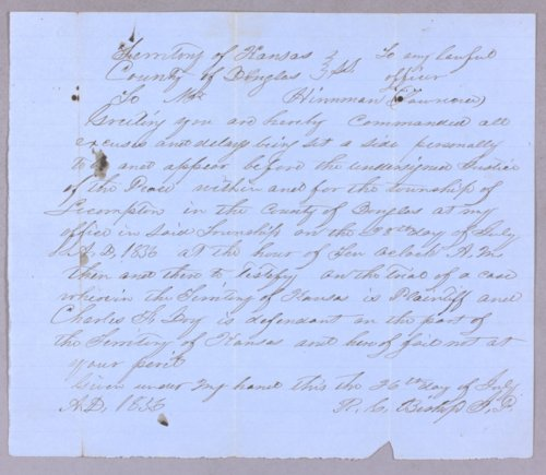 Kansas Territory versus Charles F. Day for larceny - Page