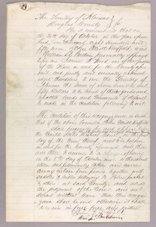 Kansas Territory versus John Elliott Duffield for larceny - Page