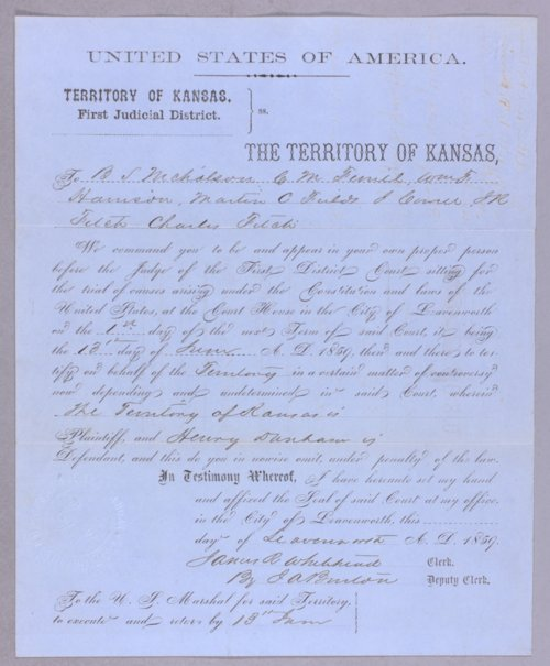 Kansas Territory versus Henry Dunbar for keeping a house of ill fame - Page