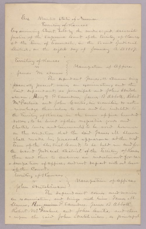 Kansas Territory versus James M. Dunn for usurpation of office - Page