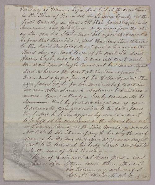 Kansas Territory versus James Eagle for contempt - Page
