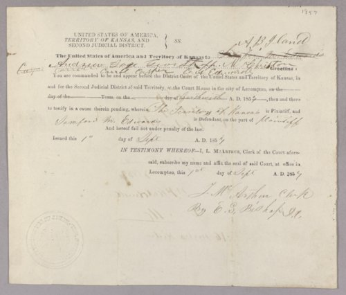 Kansas Territory versus Sanford M. Edwards for assault with intent to kill - Page