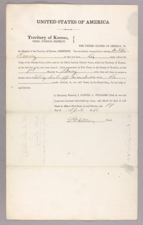 United States versus Milton Ewing for taking timber off Indian land - Page