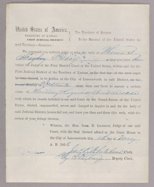Kansas Territory versus Thomas Fahey for selling liquor without a license - Page