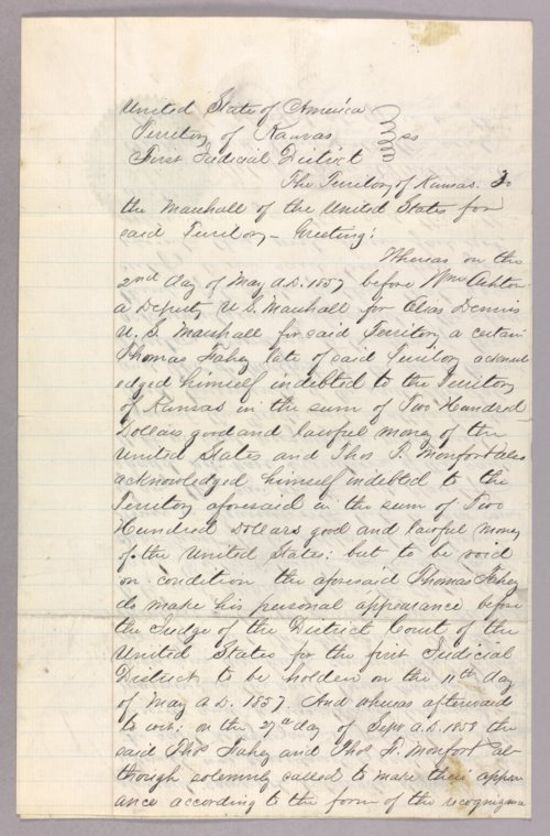 United States versus Thomas Fahey for forfeited recognizance - Page
