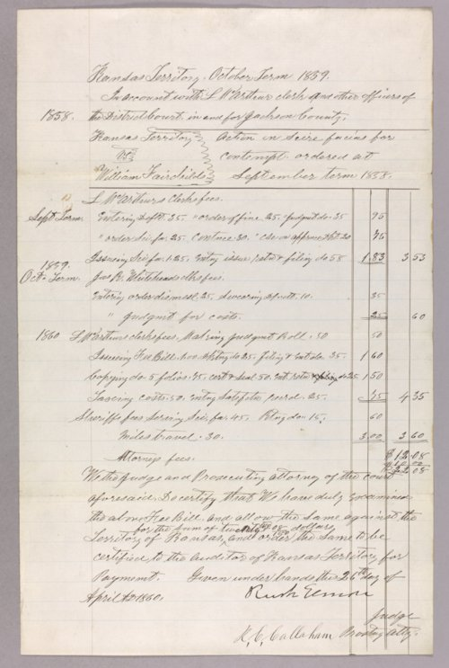 Kansas Territory versus William Fairchild for contempt - Page
