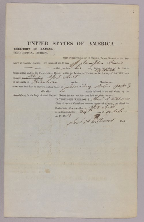 Kansas Territory versus Sampson Farris for secreting stolen property - Page