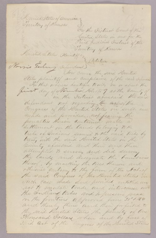 United States versus Norris Feely for settling on Indian land - Page