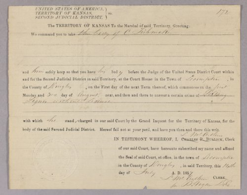 Kansas Territory versus Charles Fishmaker for selling liquor without a license - Page
