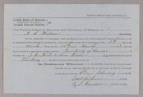 Kansas Territory versus John W. Font, Samuel Reeder for usurpation of office - Page