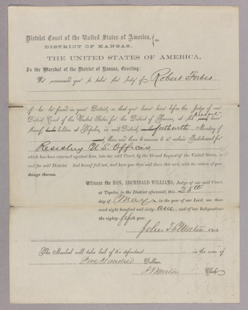 United States versus Robert Forbes for resisting U S officer - Page