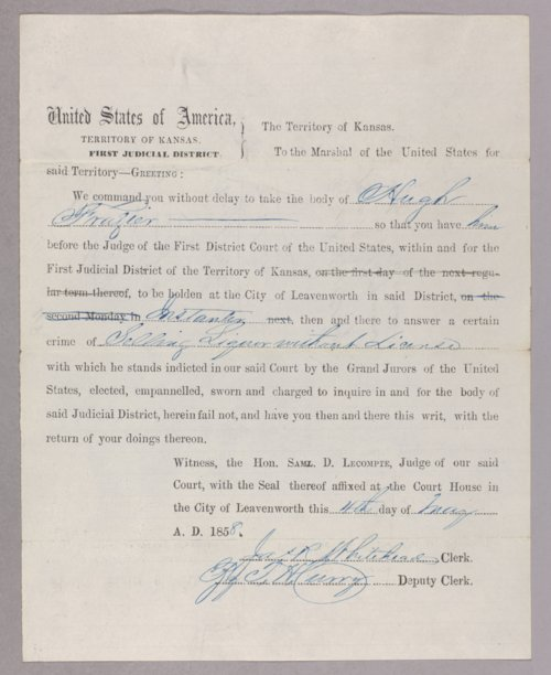 Kansas Territory versus Hugh Frazier for selling liquor without a license - Page
