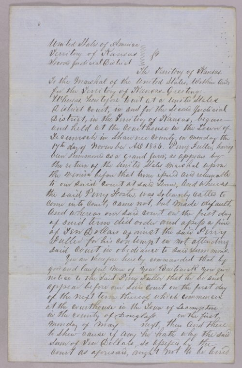 Kansas Territory versus Perry Fuller for contempt - Page